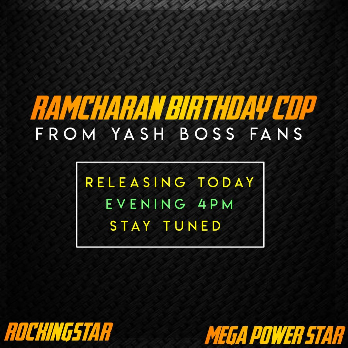 Sorry Guys Timings Changed  We Are Releasing Special CDP For #RamCharan Sir Bday💐🎂 Stay Tuned Get Ready For Change Ur Dp's 🎉😉