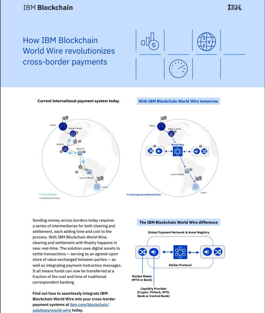 @IBMBlockchain build World-Wire on @StellarOrg to facilitate cross-border payments in seconds which supports 47 currencies in 72 countries. Checkout video and documentation for more info. youtu.be/GtQY8Jfa4NA