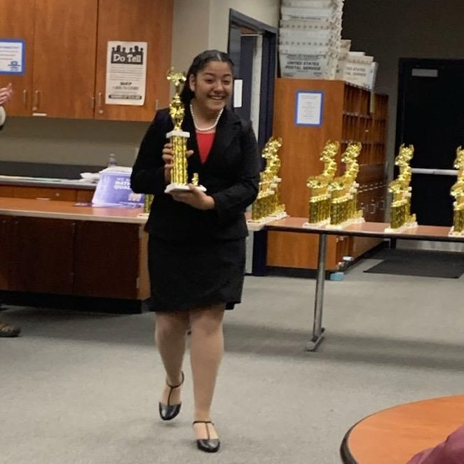 Congratulations to Ana for winning 1st place at the Southern California District Tournament - National High School Qualifier! #shesgoingtotexas  #speechanddebate #GoWolves #ALAWOLFPRIDE #Cìrculos