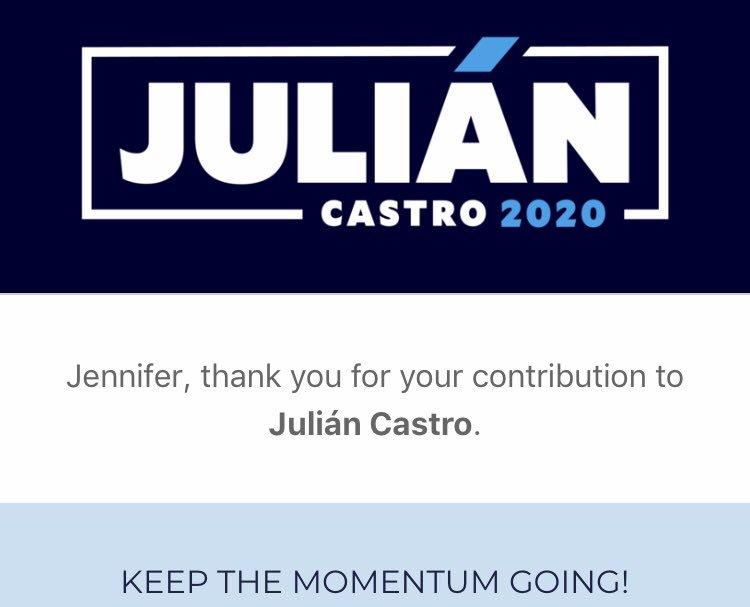 RT @JGodi: @JulianCastro @castrocountry Proud to donate! #Julian2020 https://t.co/10bTsG2usk