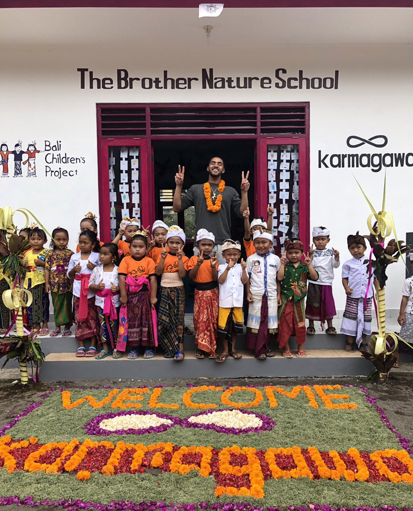 Words can't describe how I feel right now. Out here in Bali with .@karmagawa helping them open their 50th school and they freaking named it after me 😭 I'm so happy to be apart of this organization that helps so many causes in the dopest ways. Eternally grateful 🙏🏼