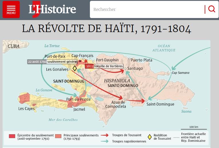 """L'Histoire on Twitter: """"En août 1791 plusieurs milliers d'esclaves se  soulèvent dans la colonie française de Saint-Domingue. Une #carte pour  visualiser cette insurrection qui secoue les sociétés coloniales et donne  naissance, 13"""