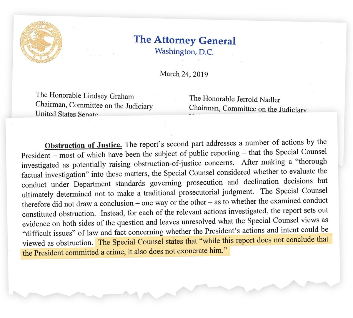 Read the attorney general's summary of Robert Mueller's investigation into Russian interference in the 2016 presidential election https://nyti.ms/2Fwujdv