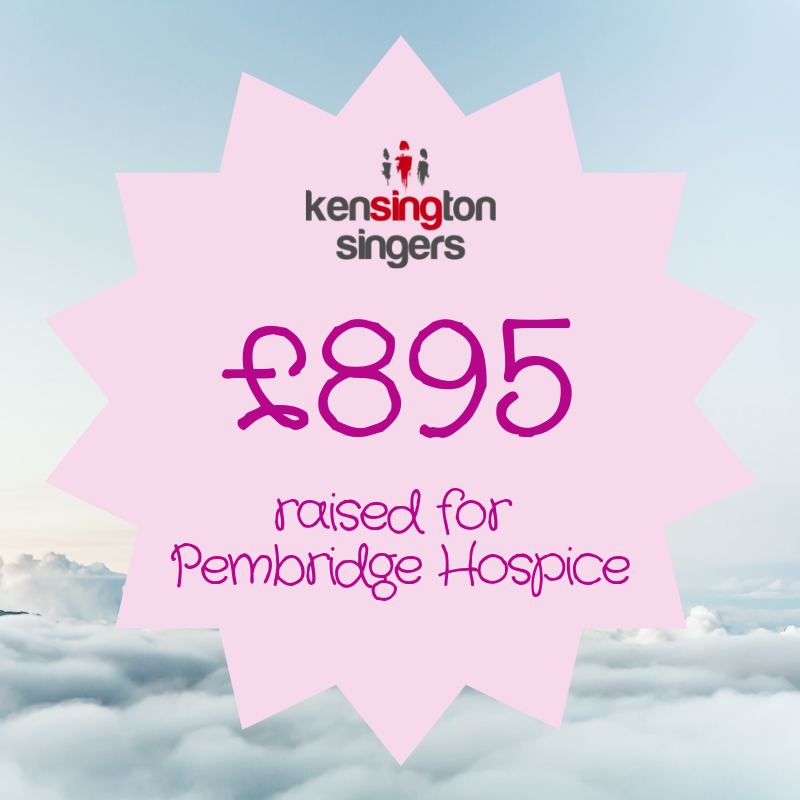 We're absolutely delighted that our Spring Concert raised £895 for @PembridgeLife. Thank you to everyone who came along!  #fundraising #charityconcer #choir #lovetosing #kensington