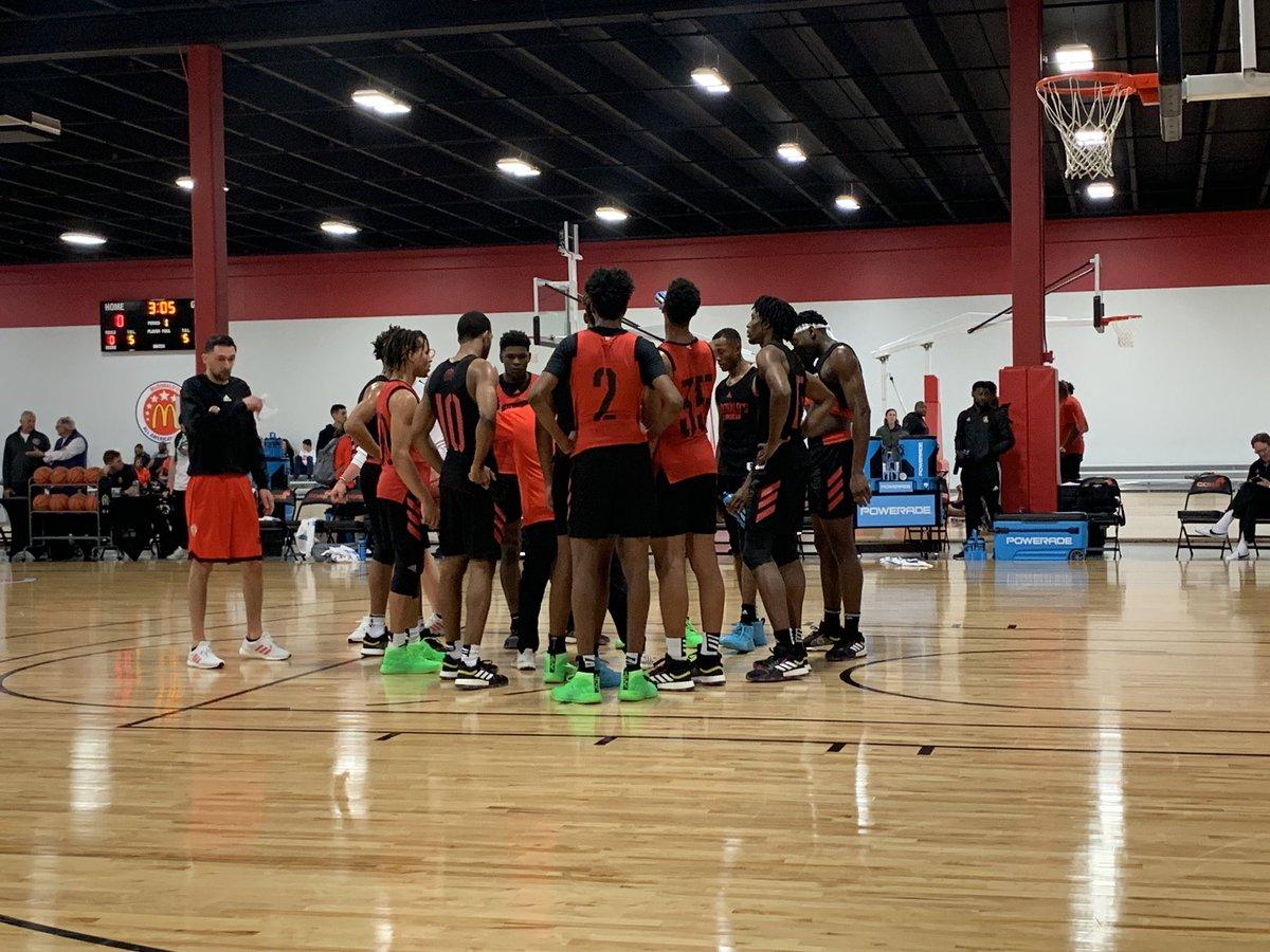 East Team practice underway. Impressive group with Jaden McDaniels, Anthony Edwards, Scottie Lewis, Cole Anthony, Isaiah Stewart.