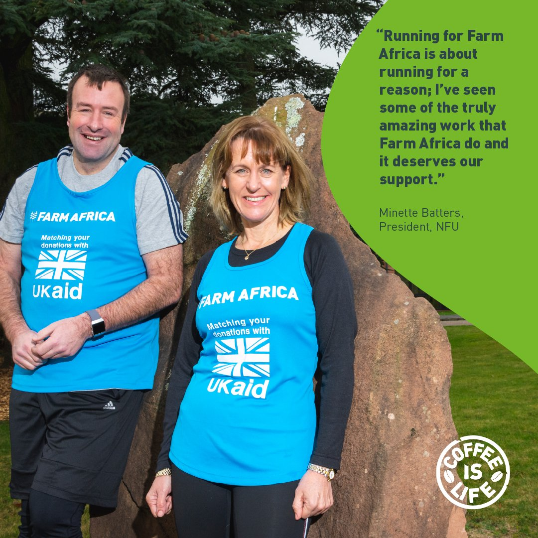 .@MinetteBatters and @HertsFarmer, President & Vice President of @NFUTweets, are running the London Marathon for @FarmAfrica's #CoffeeIsLife appeal. Sponsor them by 8 May and the UK government will double your gift. https://www.justgiving.com/fundraising/nfumarathon… #UKAidMatch @DFID_UK #MondayMotivation
