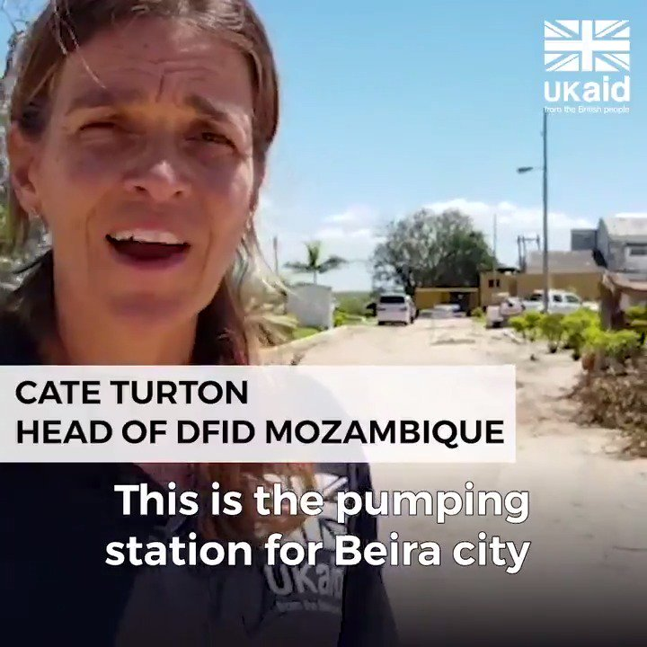 Head of DFID Mozambique, @CateTurton, is in Beira to see #CycloneIdai relief efforts for herself.  #UKaid has helped transport two generators from Maputo to get the city's water pumping station working again, as well as supplying tents, shelter and water purification kits.