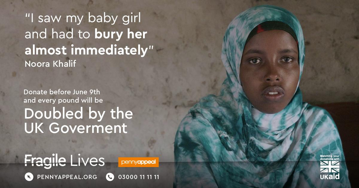 When Noora first got pregnant, she was over the moon.  Tragically, Noora lost her first child as she was giving birth prematurely at home.  Donate before June 9th and your donation will be DOUBLED by the UK Government and @DFID_UK: https://pennyappeal.org/appeal/fragile-lives?src=fb… or call 03000 11 11 11.