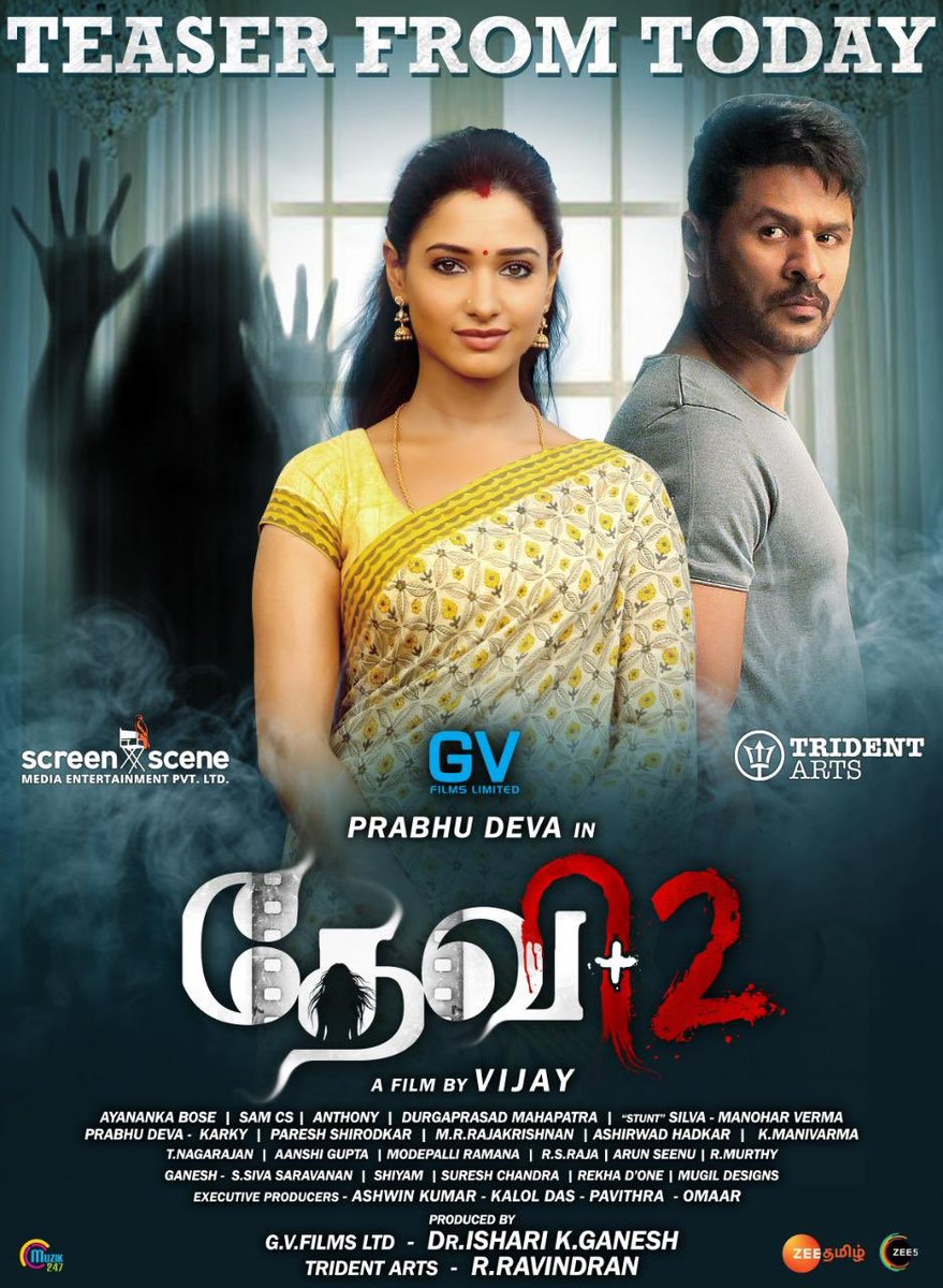 Here's the Exclusive Tomorrow paper adv of #Devi2 🎉 #Devi2Teaser will be releasing tomorrow at 5 PM in @Muzik247in ,  Stay Tuned 🤞🏻  Directed by Vijay !  @PDdancing | @Nanditasweta | @SamCSmusic @tridentartsoffl | GvFims | @Screensceneoffl | @DoneChannel1 | @shiyamjack