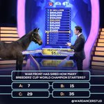This foal of mine is bound to make millions on the track one day, in the meantime he's showing off his smarts on #WhoWantsToBeAMillionaire?Do you know the right answer? @MillionaireTV #WarDancerFoals