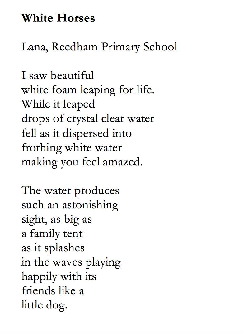 Spending the week running Tales on The Tide workshop for @YN_AF and @WritersCentre on climate change, water and coastal erosion.   Here is Lana from Reedham Primary's response to Mary Oliver's poe The Kingfisher.   #poetry #workshops #creativewriting