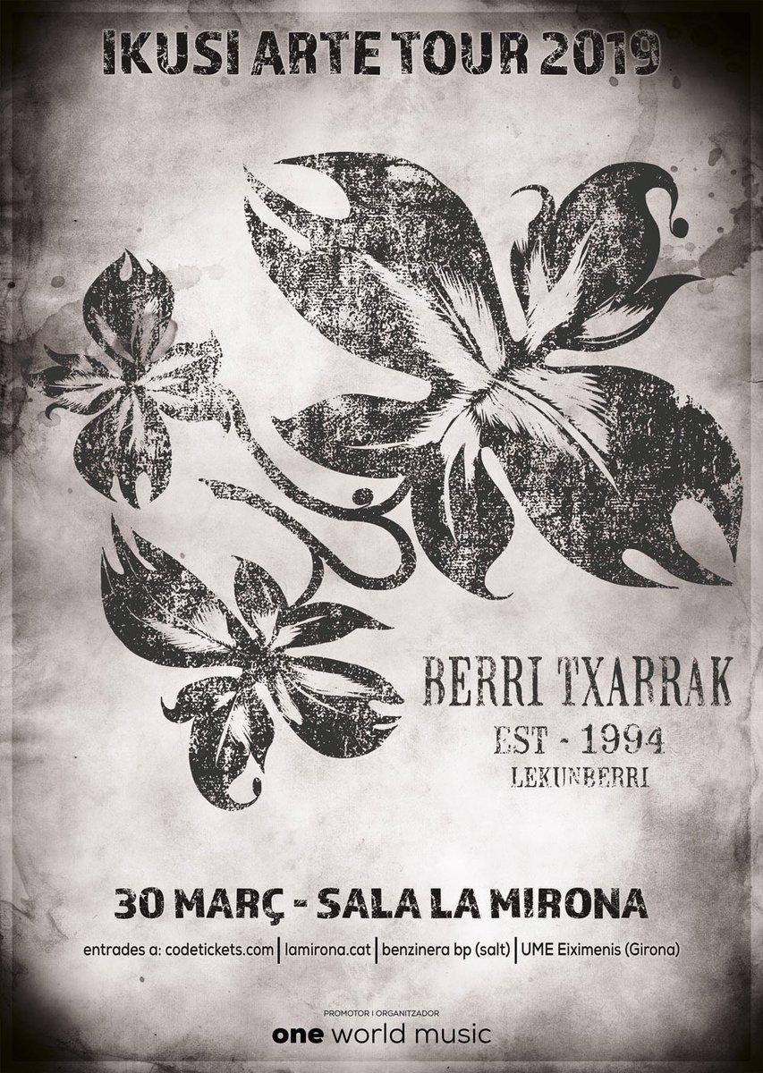 Sarrera bat libre geratu zaigu, larunbatean, Gironan, @berritxarrak ikusteko. Inork aprobetxatuko balu, pozik salduko genioke erositako prezioan. #ikusiartetour2019 #BerriTxarrak