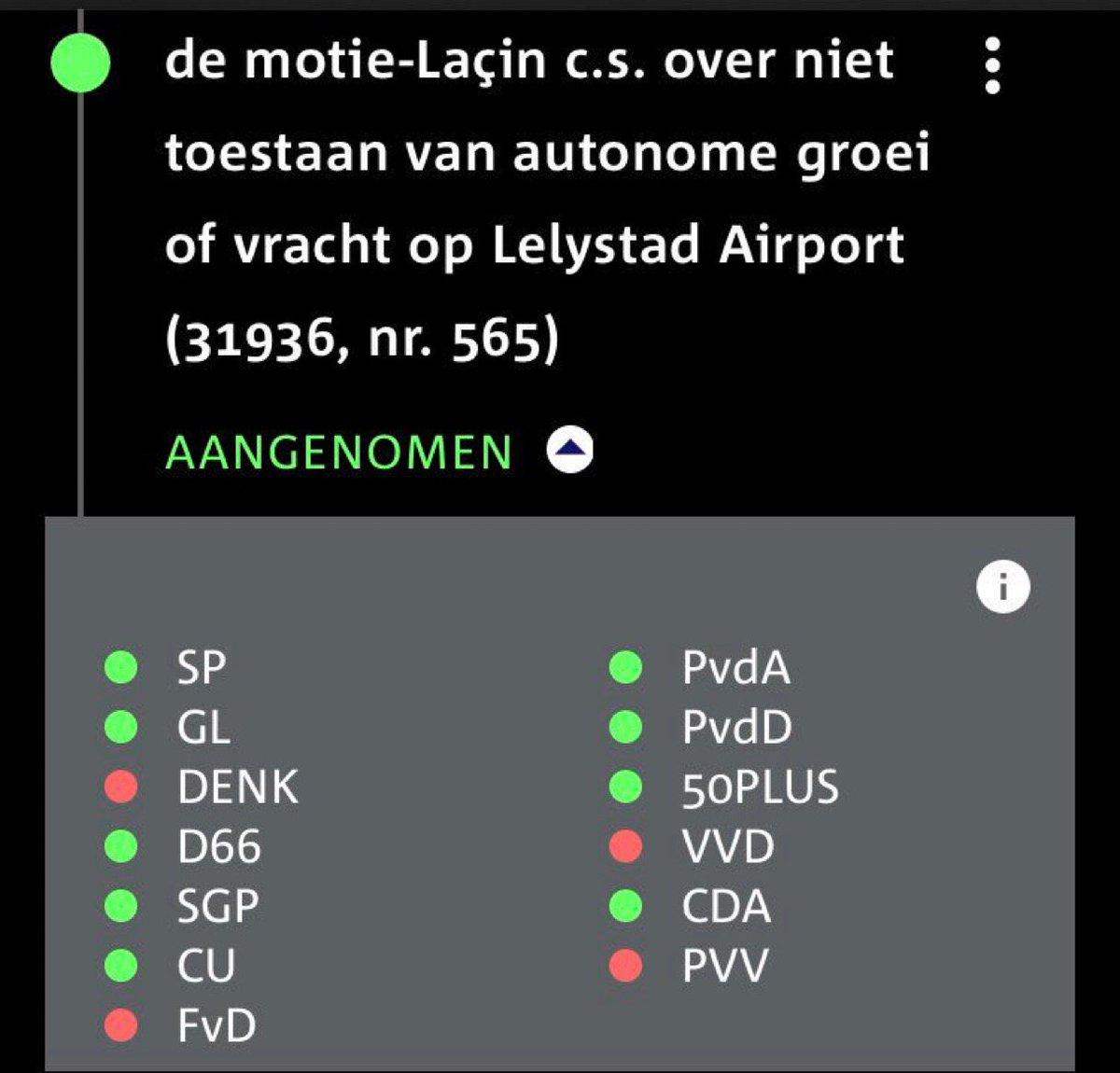 In december 2018 is motie @CemLacin aangenomen met steun van coalitiepartners @D66 @cdavandaag en @christenunie  Deze motie sluit autonome groei #LelystadAirport uit. Letten jullie op @jpaternotte @MustafaAmhaouch en @eppobruins ?
