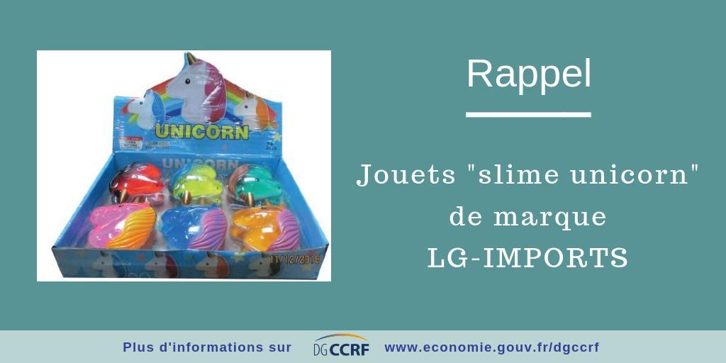 """#RappelProduit #securite Les jouets """"slime unicorn"""" de la marque LG-IMPORTS présentent un risque d'intoxication pour les jeunes enfants https://bit.ly/2up1KZr"""