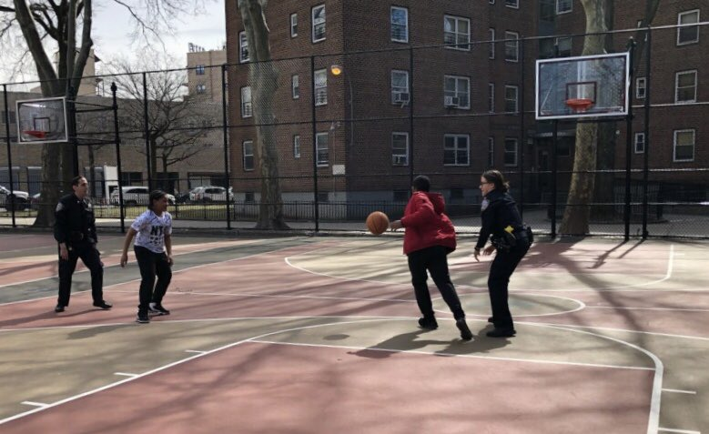 Here's one of the many ways you can tell that spring is finally here.  Officers Gazzoli and Mannarino from the @NYPD63Pct in Brooklyn enjoyed the good weather with some local kids during a pick-up game of basketball in the Glenwood Houses.