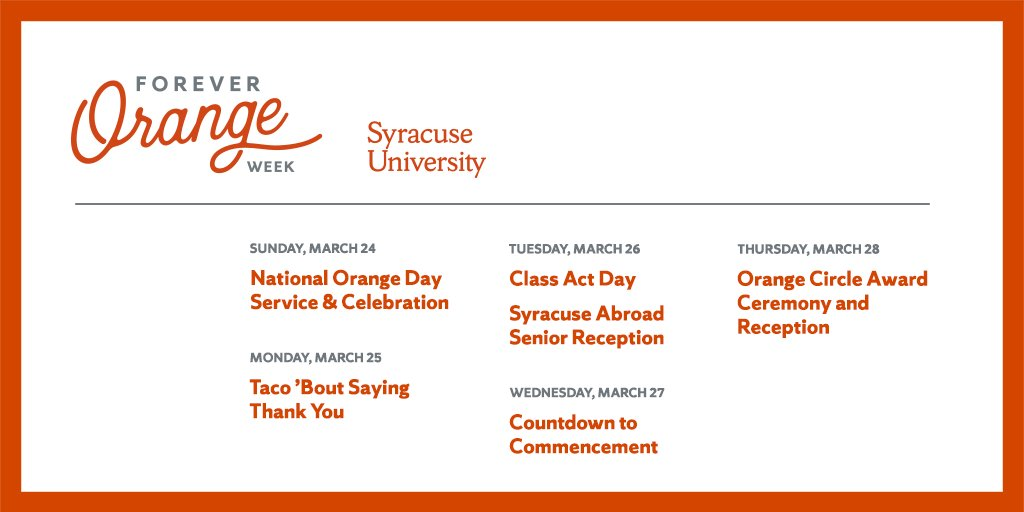 Join us for Forever Orange Week! 🍊 #SyracuseU's 149th birthday celebration continues with a slate of activities this week. #4EverOrange  Event details: http://ow.ly/djJp30ob69j
