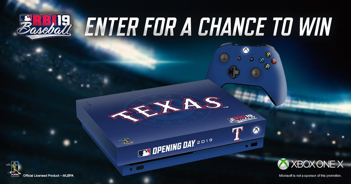Play ball!  Enter now for a chance to win a Rangers-branded @RBIGAME @Xbox One X!   🎮: https://atmlb.com/2OpJ5ps