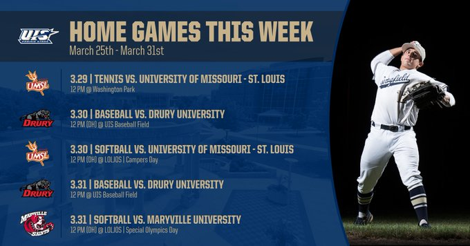 RT @UISAthletics: We have another FULL WEEK of HOME events!  Get out and support your Prairie Stars 💫  🎾@TennisUIS  ⚾️@Baseball_UIS  🌟@UIS_…