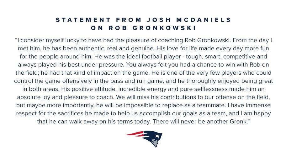 Statement from Josh McDaniels on @RobGronkowski: https://t.co/lxogPSX0mU https://t.co/YkVsyY9JHB