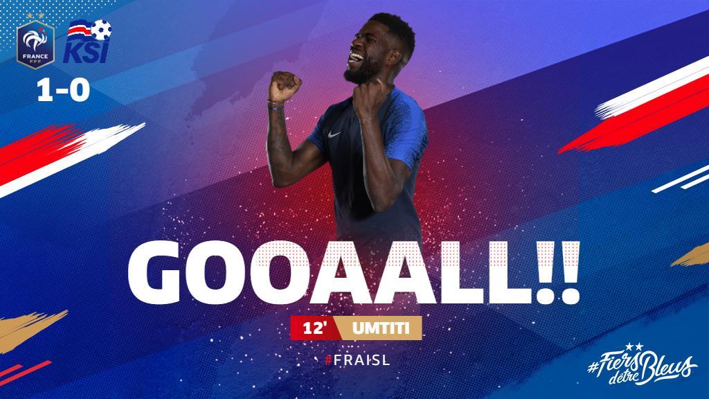Great start for Les Bleus, as @samumtiti nods home @KMbappe's cross for 1-0! 🥳  #FiersdetreBleus #EURO2020 #FRAISL