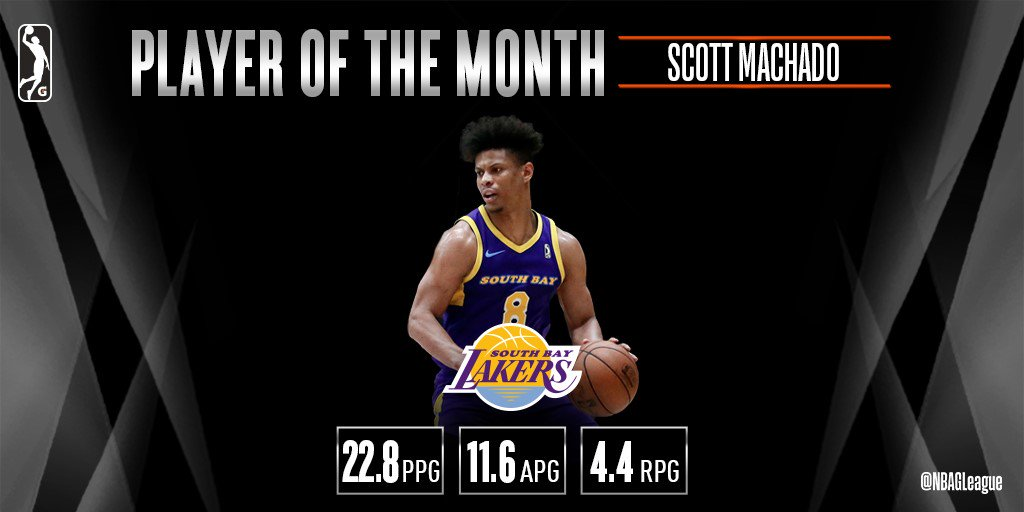 .@_ScottMachado has been named #NBAGLeague Player of the Month after @SouthBayLakers went 6-2 in games he played AND earning an #NBACallUp to @Lakers!