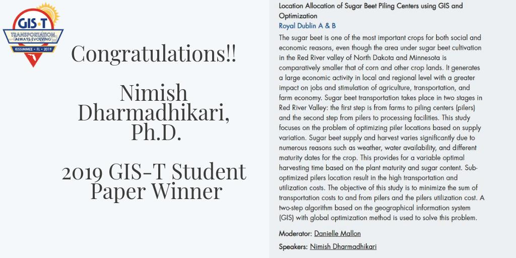 Mark your calendars to meet the #2019GIST Student Paper winner, Nimish Dharmadhikari, Ph.D. @ndsu on Wed, April 24 in the Tech Hall and Thurs, April 25 at 2 pm during his session to learn about his award winning paper. #studentpaper #winner #studentresearch #undergradate #GIS