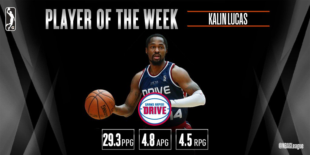 .@DetroitPistons #2WayPlayer Kalin Lucas (@Kjay24k) named #NBAGLeague Player of the Week after leading @grdrive to 3-1 mark in a crucial division-clinching week!