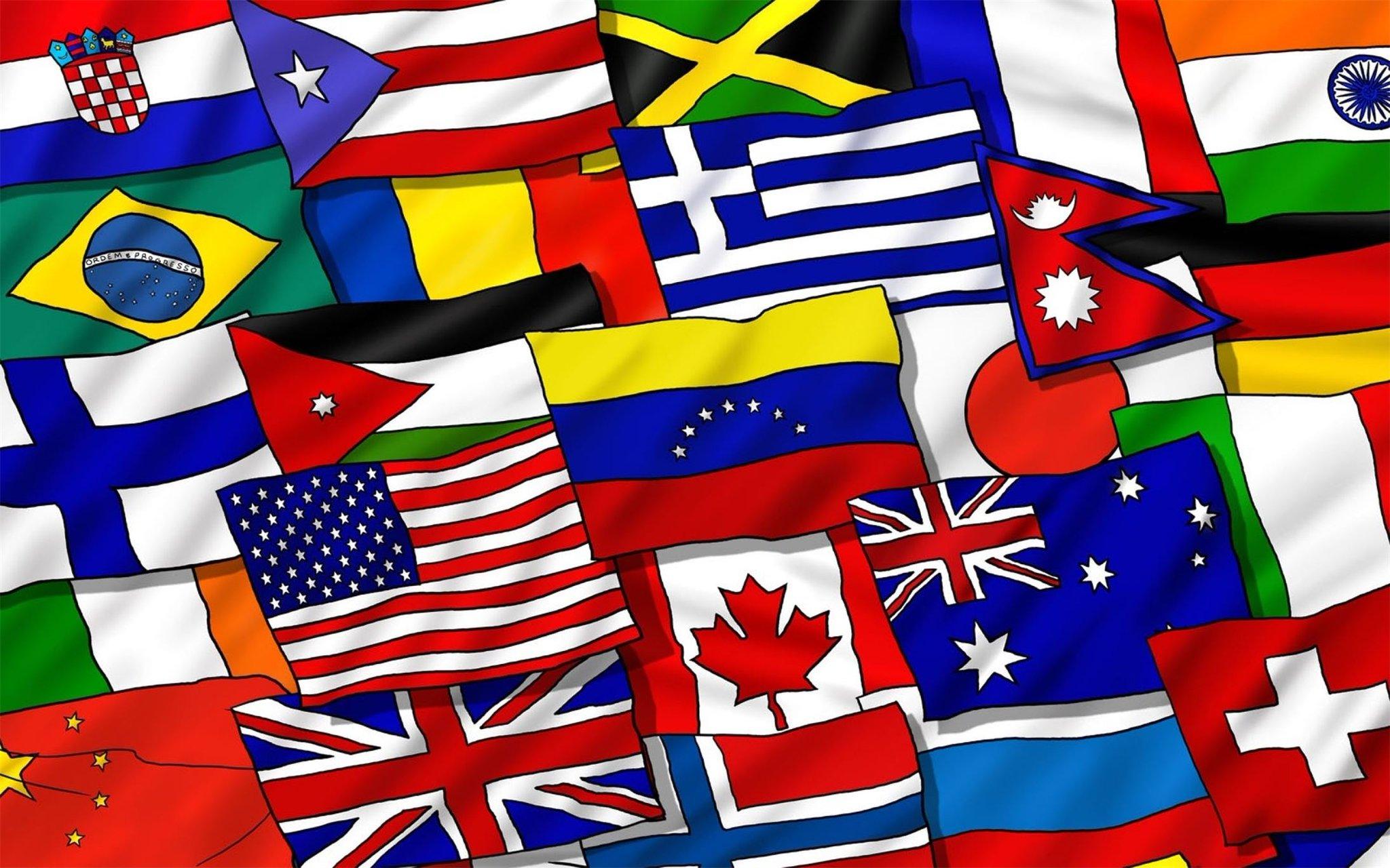 Открытки с флагами разных стран