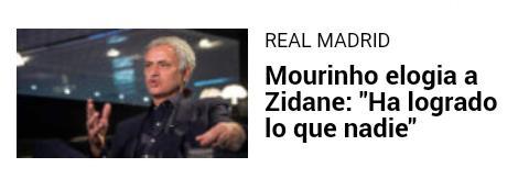 #MARCA y #AS sacan estos titulares de la misma entrevista de #Mourinho sobre #Zidane.