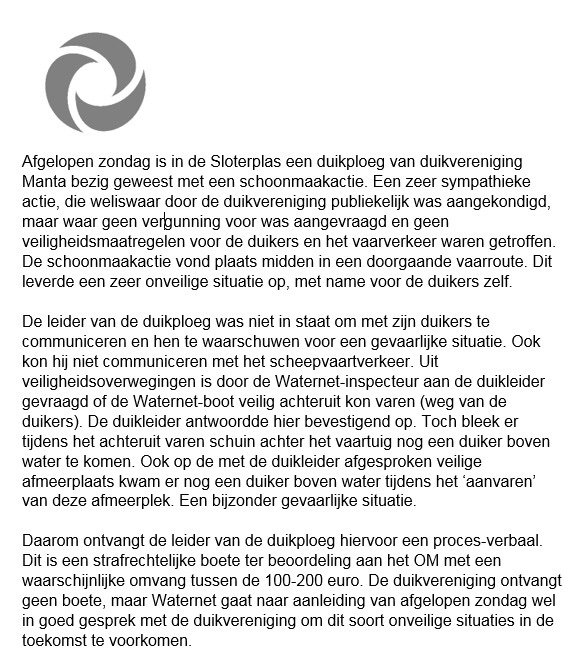 Onze reactie op de schoonmaakactie van de duikers in de Sloterplas: