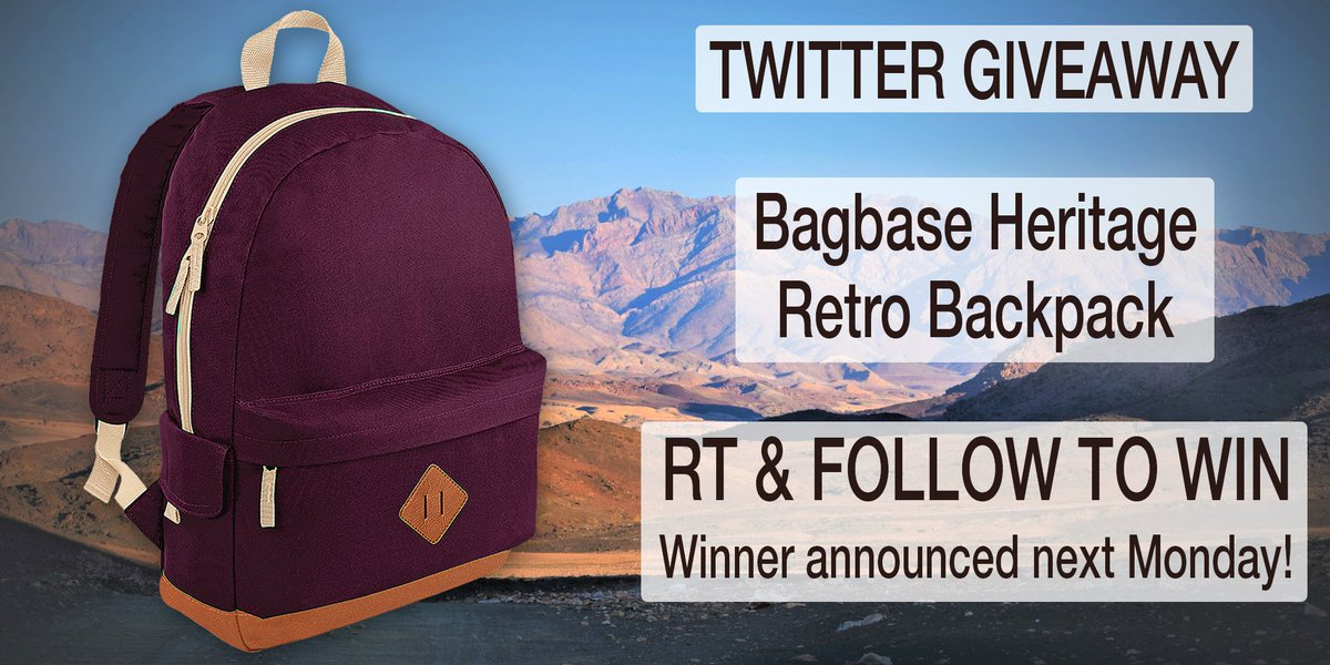 fdd674ccc4  Bagbase Heritage Retro  Backpack  Giveaway!  Follow   RT to  win! Ends  01 04  competition  prize  compers  contest  prizes  comping  prizedraw ...