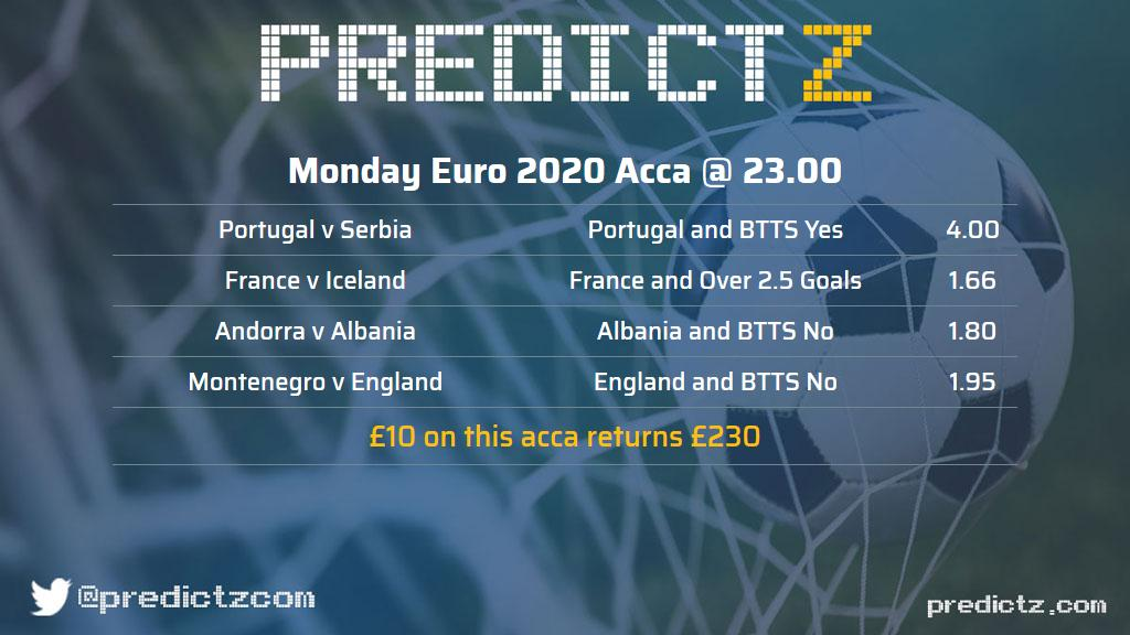 Here is our Monday night #acca win for the #Euro2020 qualifiers! £10