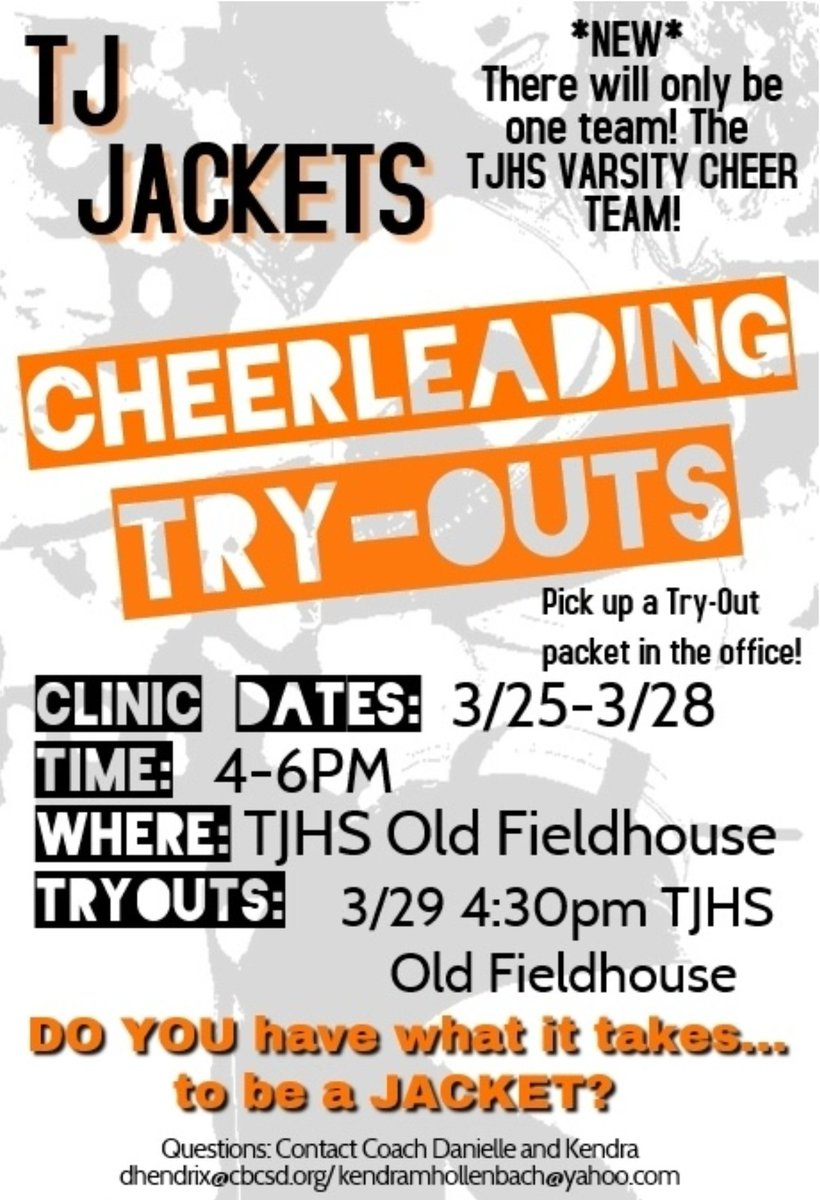 TODAY is the day! Our first tryout clinic will begin at 4:00pm. Please meet by the stairs (next to the inside Old fieldhouse entrance doors and commons area). Pick up a packet in the office or grab one today at clinic! See you soon!