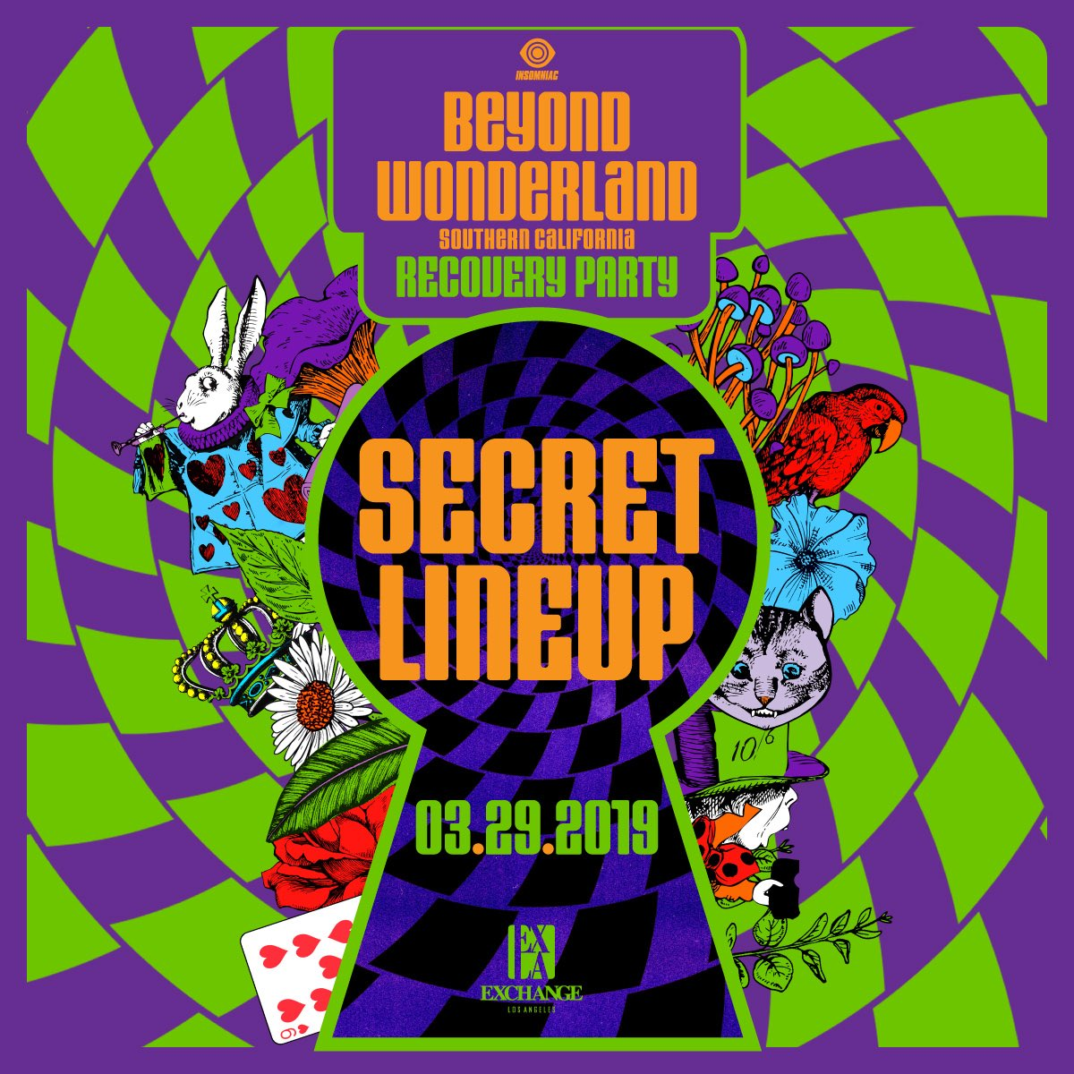 Join us for the Official @BeyondWland Recovery Party ft. Secret Lineup this Friday, 03/29! 🐰🌀🍄  RSVP for Free Entry: http://ExchangeLA.com/032919