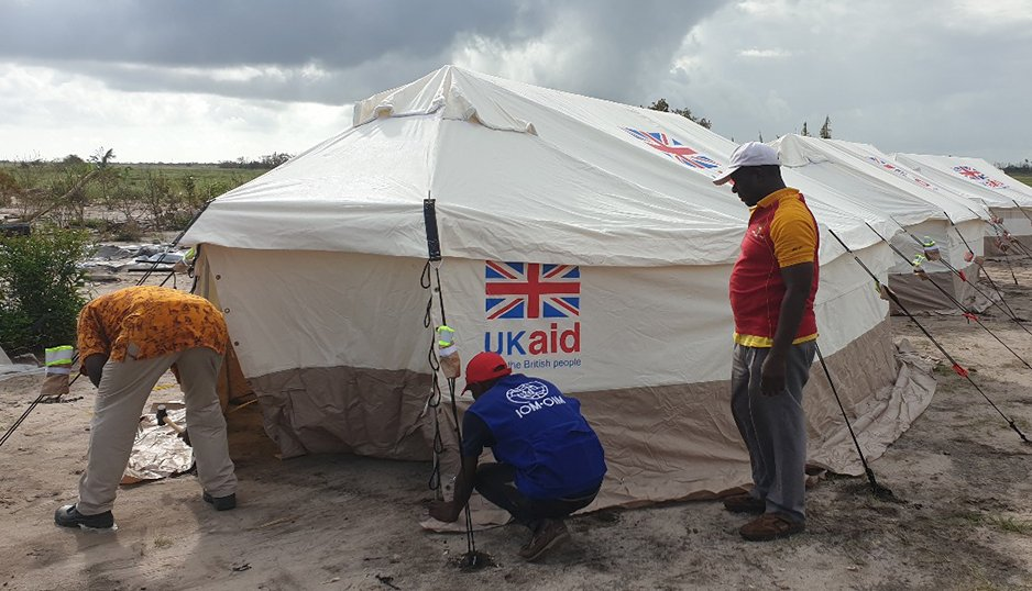 Tents supplied by the UK being erected near Beira, Mozambique today by @IOM_Mozambique - for families who have lost their homes in #CycloneIdai.  #UKaid has already delivered over 7,500 shelter kits and tents to Beira and surrounding areas, with more on the way.