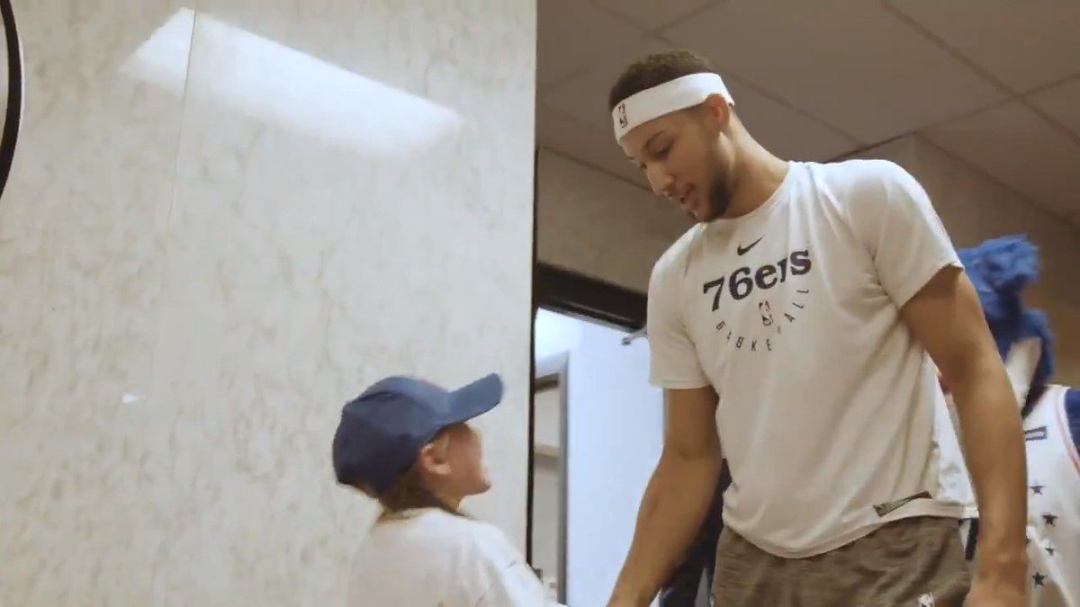 Watch as @BenSimmons25 makes Ada Pickard's wish come true! 🌠 #HereTheyCome  🏀: @sixers vs. @OrlandoMagic  ⏰: 7pm/et  📺: @NBATV