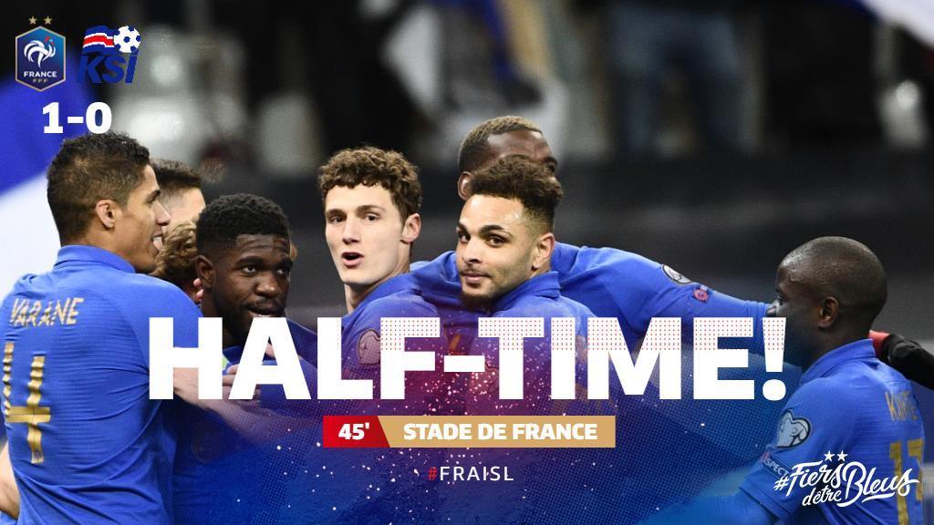 Les Bleus have the lead at the interval! 🇫🇷🇮🇸  #FiersdetreBleus #EURO2020 #FRAISL