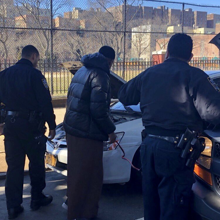 Sometimes you just need a helping hand to jump-start your day! When Officers Graves and Salvador from the @NYPD44Pct saw this man having car trouble, they gladly stopped to help restart his car and get him back on the road in no time.