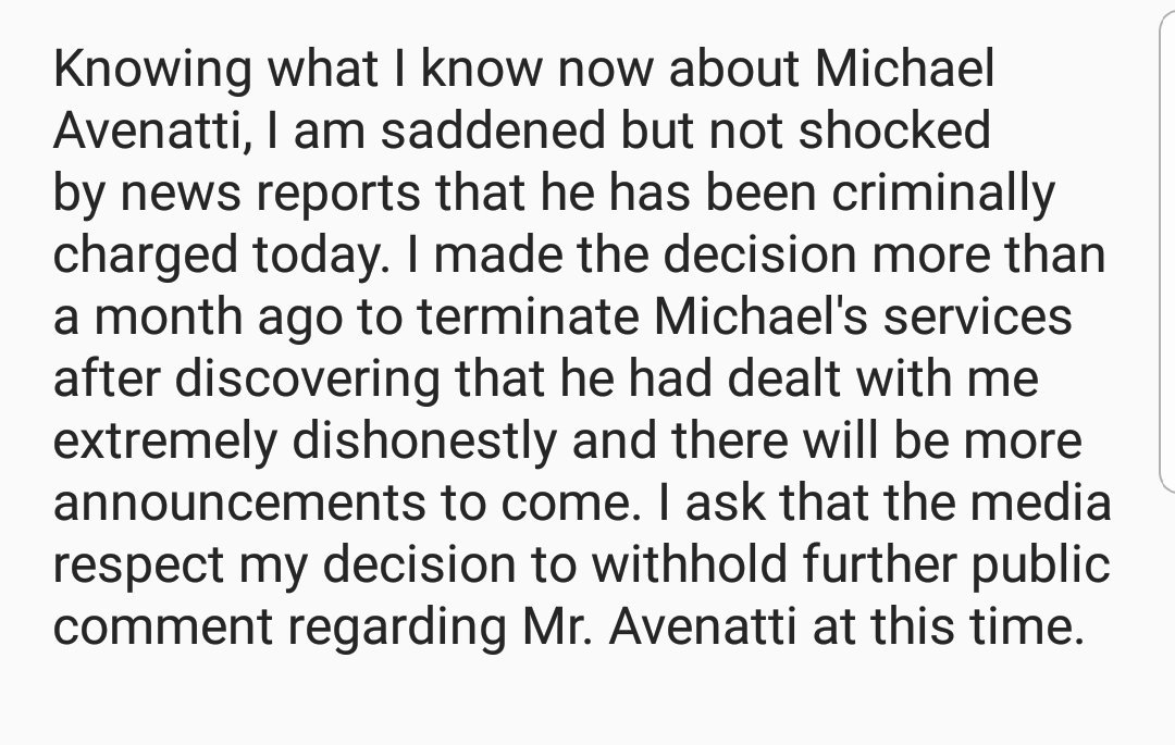 My statement regarding my former attorney Mr. Avenatti..
