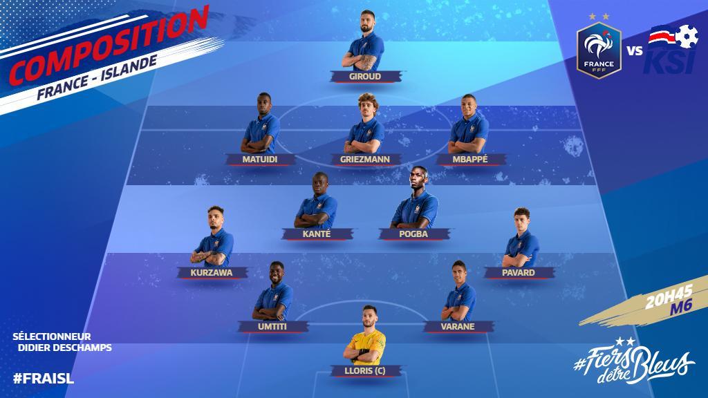 Les 11 joueurs qui débuteront le match face à l'Islande 👊  Coup d'envoi à 20h45 sur M6 #FRAISL 🇫🇷🇮🇸