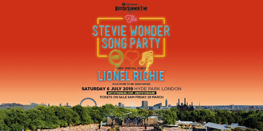 I am very excited to personally invite you to my party, The Stevie Wonder Song Party: Celebrating Life, Love and Music, on Saturday 6th July at London's Barclaycard presents @BSTHydePark with @LionelRichie & many more to be announced—tickets on sale now!