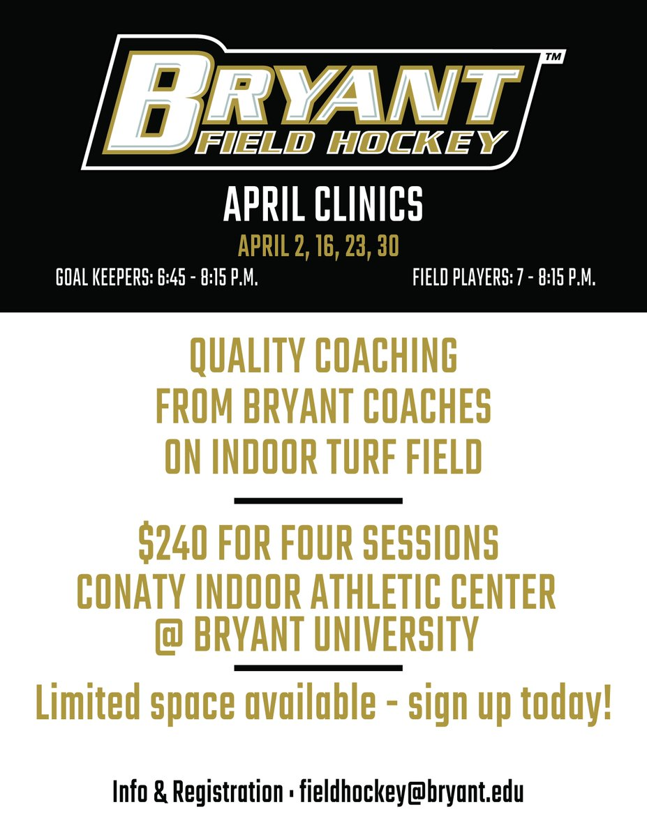 April is fast approaching! Reserve your spot at one of our many April Clinics!   Register using the link provided  http://bit.ly/April19-FH_Reg   #GoBryant
