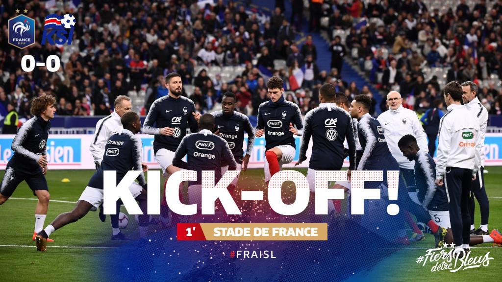 And we're off at the Stade de France - let's go get those three points, boys! 💪  #FiersdetreBleus #EURO2020 #FRAISL