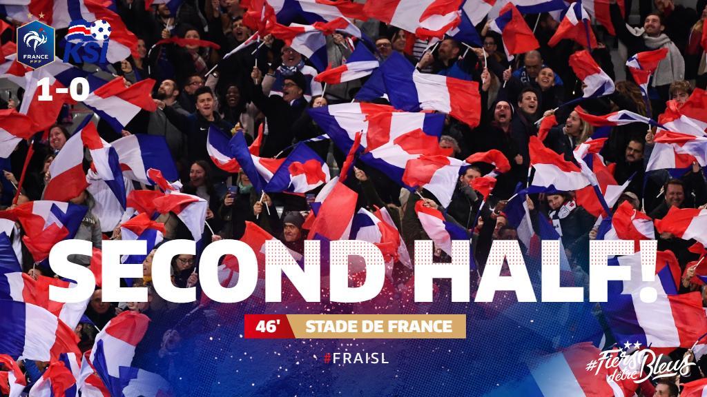 We're back underway at the Stade de France!  #FiersdetreBleus #EURO2020 #FRAISL