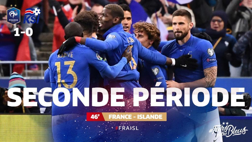 Début de la seconde période ! (1-0) ⚽️ @samumtiti (12')  🇫🇷🇮🇸 #FRAISL #FiersdetreBleus