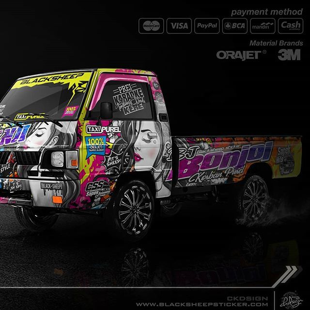 Decal kit Mitsubishi L300 korban purel • • • #mitsubishi #mitsubishil300 #sapek #sapekmania #l300modifikasi #l300pickupmodifikasi #l300indonesia  #decal #grunge #ladies #colorful #cuttingsticker #sticker #pickuphits #pickupbanyuwangi #mockup #photosh…