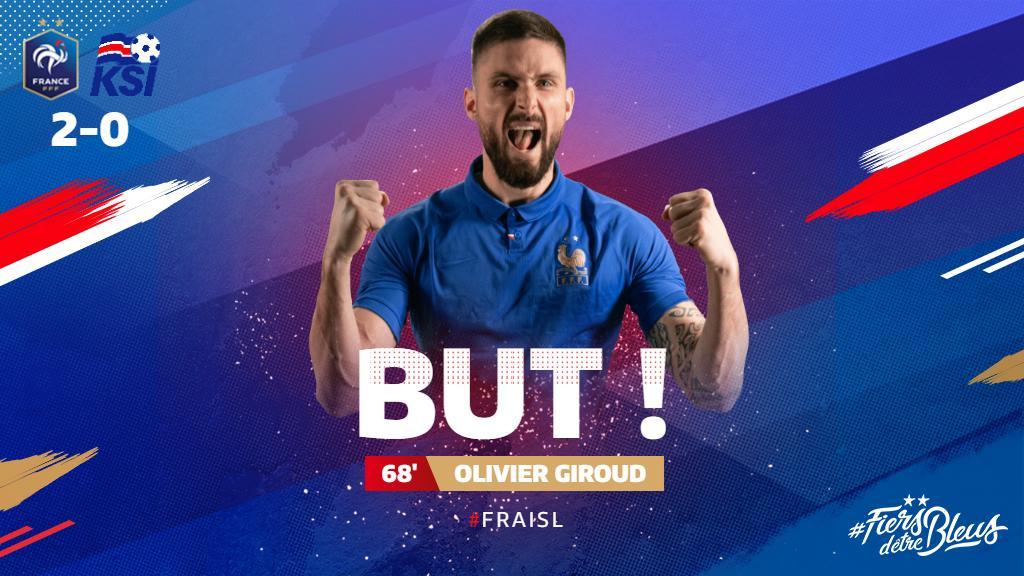 Et le buuuuuut d'@_OlivierGiroud_ !!!! 2-0 !! 🇫🇷🇮🇸 #FRAISL #FiersdetreBleus
