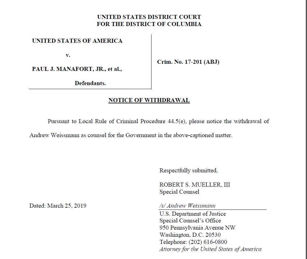 That's it, folks. End of an era. Andrew Weissmann exits the (massive, unpredictable) Manafort case in DC District Court.  Greg Andres, Jeannie Rhee + other SCO prosecutors also withdrew from the case today, while 5 DC AUSAs stepped up. The case continues w Rick Gates cooperating.