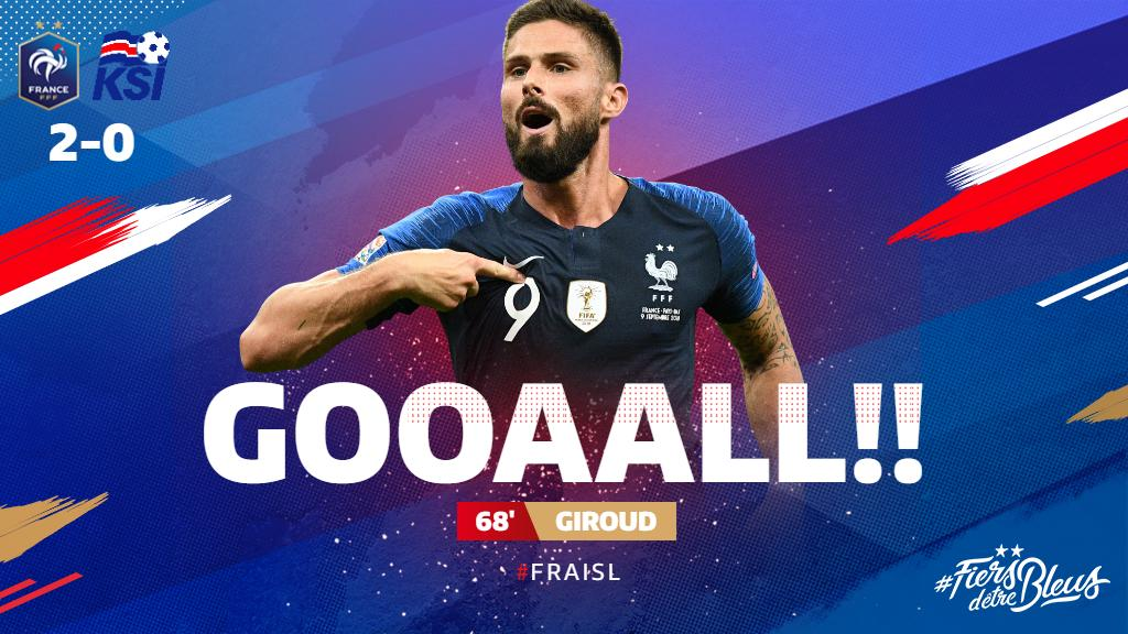 Les Bleus double their lead through @_OlivierGiroud_'s tap-in! 👏  #FiersdetreBleus #EURO2020 #FRAISL