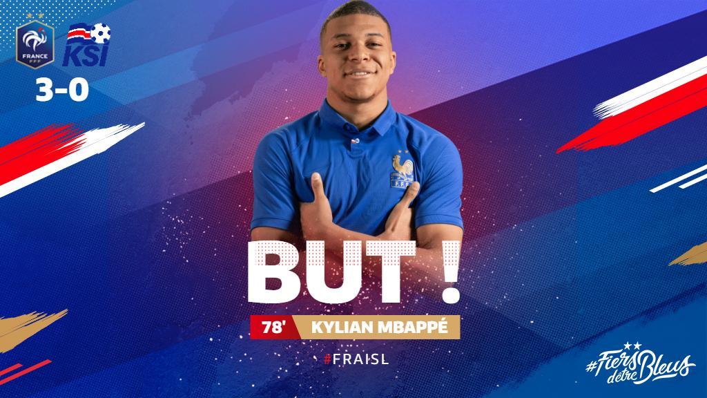 Le troisième buuuuuut pour @KMbappe !!!! 3-0 #FRAISL #FiersdetreBleus